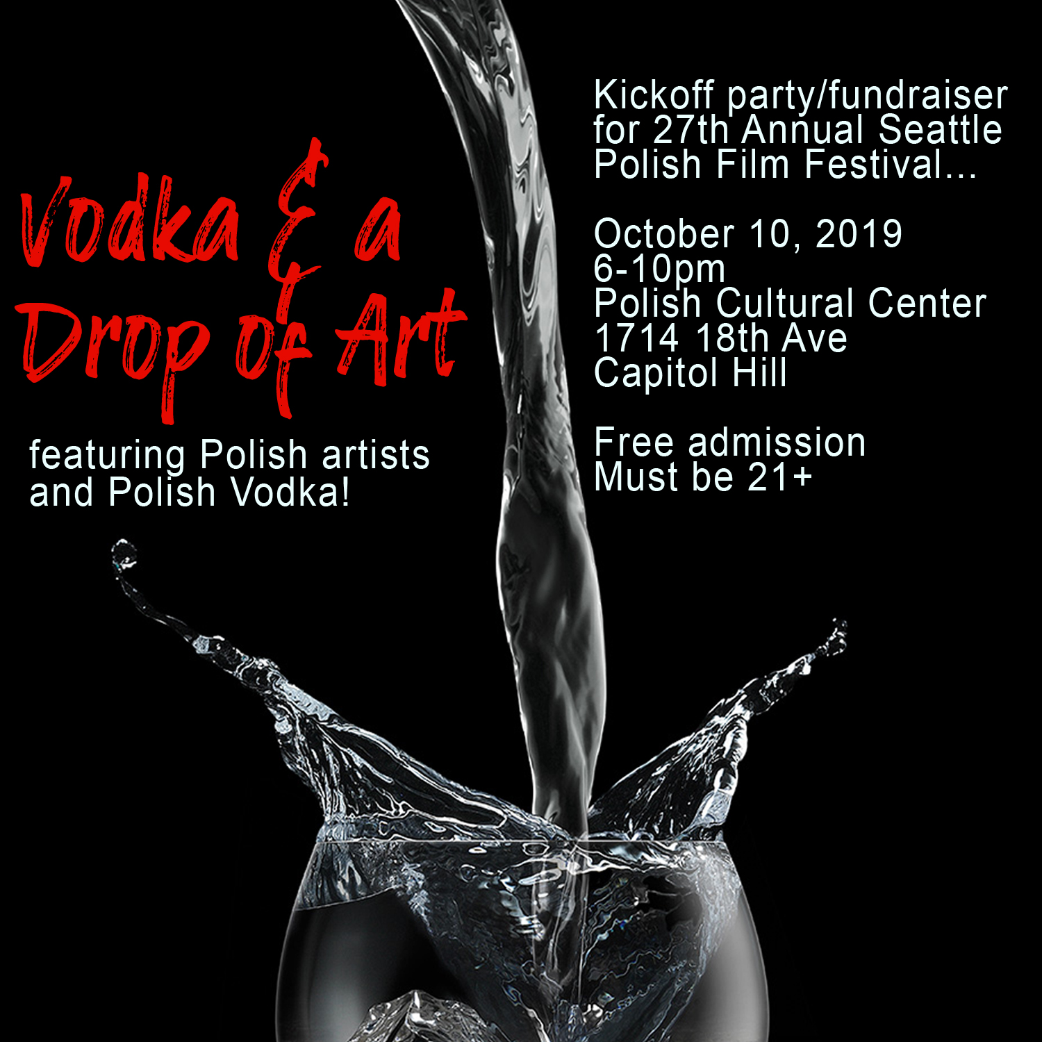 5th Annual Vodka Tasting to Kick Off the 27th Annual Seattle Polish Film Festival
